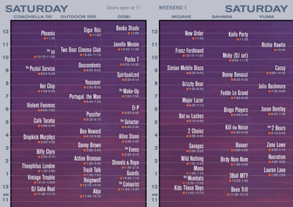 Satuday Set Times