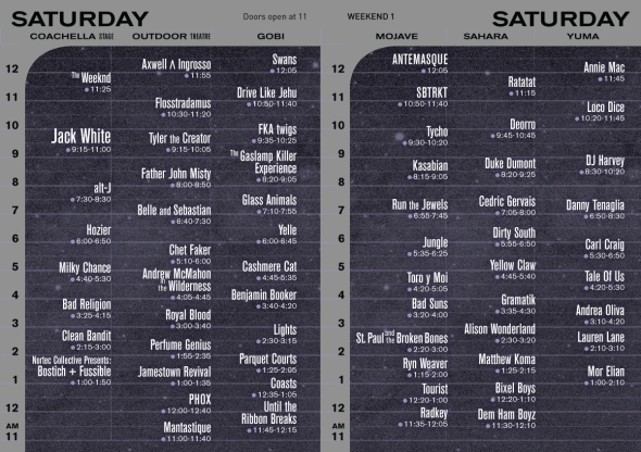 2015 Coachella - Saturday set times