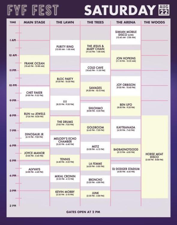 2015 FYF Fest - Saturday set times
