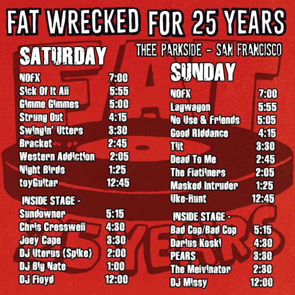 Fat Wreck Chords Celebrates 25 Years Of Punk Rock Over Two Days At