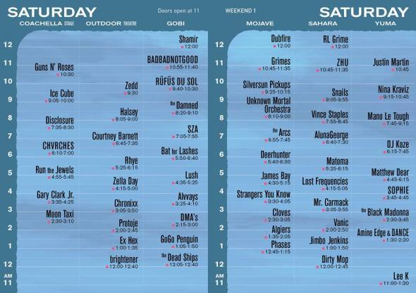 Coachella 2016 - Saturday set times