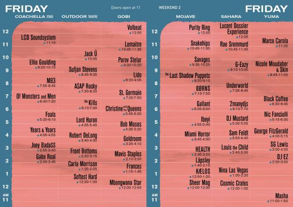 Coachella 2016 - Weekend 2 - Friday set times