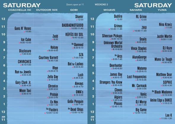 Coachella 2016 - Weekend 2 - Saturday set times
