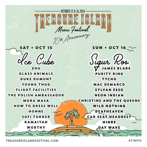 Treasure Island Music Festival 2016 - daily lineups