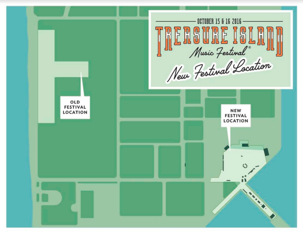 Treasure Island Music Festival 2016 - map