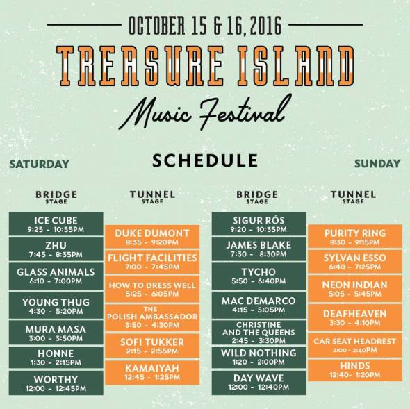 Treasure Island Music Festival 2016 - schedule
