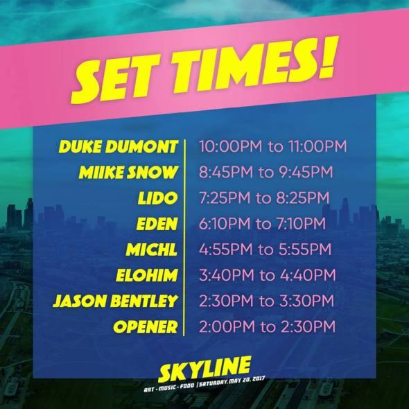 Skyline - set times