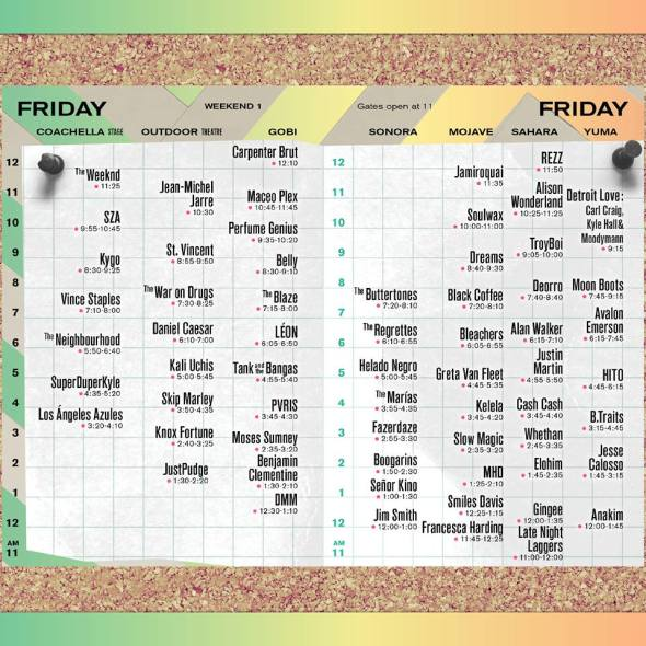 Coachella 2018 - Friday set times