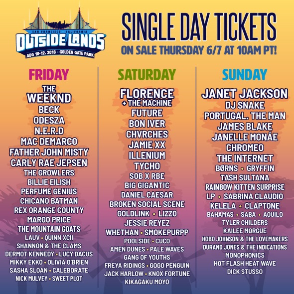 Outside Lands 2018 - daily lineups