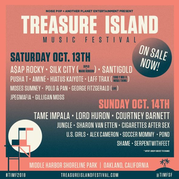 Treasure Island Music Festival - 2018 daily lineups