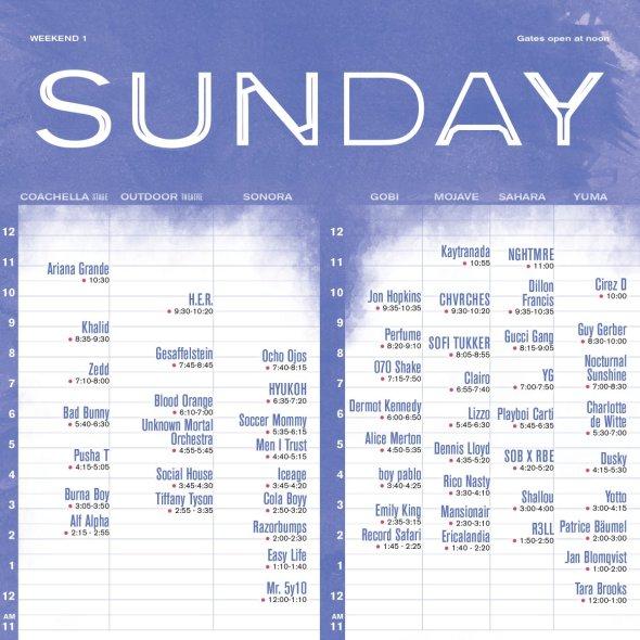 Coachella 2019 - Weekend 1 - Sunday set times