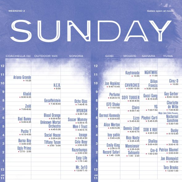 Coachella 2019 - Weekend 2 - Sunday set times