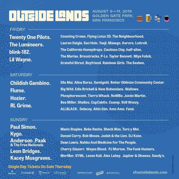 Outside Lands 2019 - daily lineups